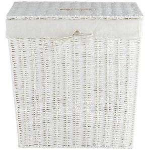 Wäschekorb mit Deckel ¦ weiß ¦ Eisendraht, Polyester, Baumwolle, Papier ¦ Maße (cm): B: 45 H: 45,5 T: 30 Aufbewahrung  Wäscheaufbewahrung » Höffner