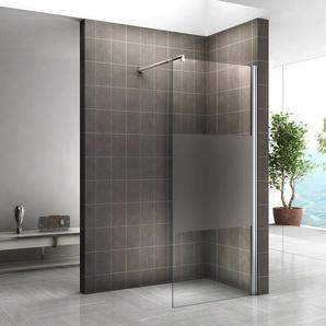 Walk In Dusche 10mm Duschwand Duschabtrennung Teilsatiniert W840 120x200 cm - I-FLAIR