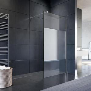 Walk In Dusche Duschwand Duschabtrennung Duschkabine mit Stabilisator Nano ESG Glas 10mm 120x200cm teilsatiniert