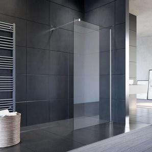 Walk In Dusche Duschwand Duschabtrennung Duschkabine mit Stabilisator Nano ESG Glas 8mm 100x200cm