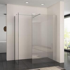 Walk In Dusche Duschwand Duschabtrennung Duschkabine mit Stabilisator Nano ESG Glas 8mm 100x200cm mit 80cm Seitenteil