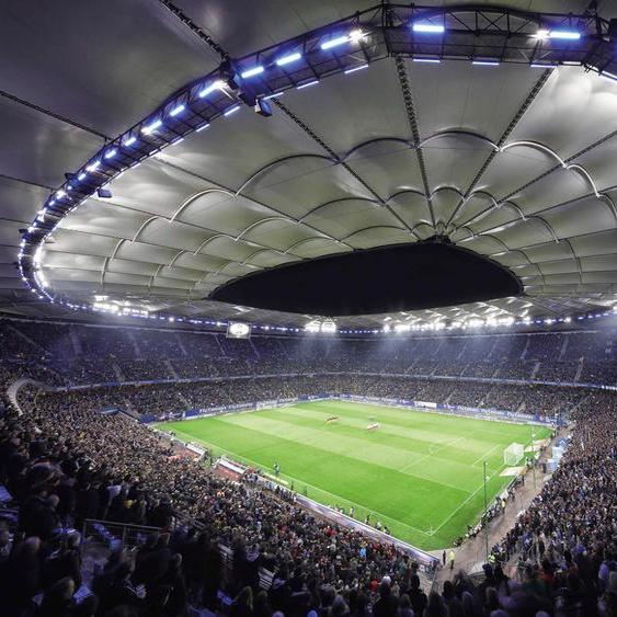 Wall-Art Vliestapete Hamburger SV im Stadion bei Nacht Maße (B/H): 336/260 cm bunt Fototapeten Tapeten Bauen Renovieren