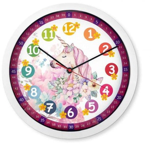 Wall-Art Wanduhr lautlose Pferde Kinderzimmer Lernuhr Einhorn Uhr Ø 30cm Rosa Pegasus B/H/T: 30 cm x 2 rosa Wanduhren Uhren Wohnaccessoires