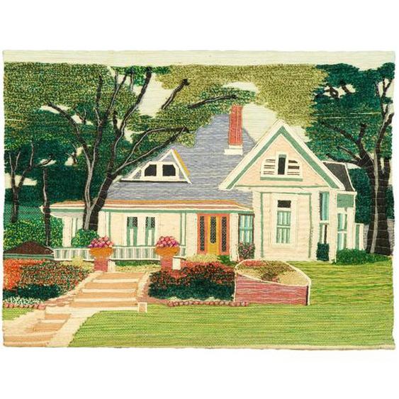 Wandbehang Typisches Ferienhaus mit Garten
