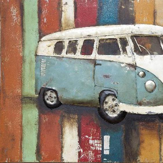 Wandbild 3D aus Eisen VW Bus
