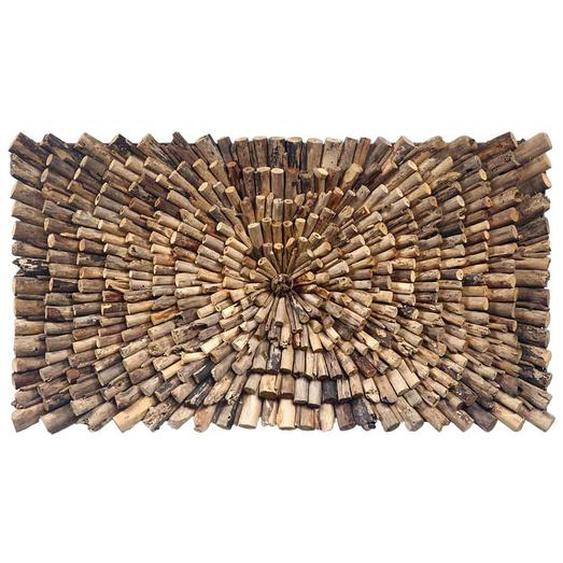 Wandbild aus Teak Recyclingholz 120 cm breit
