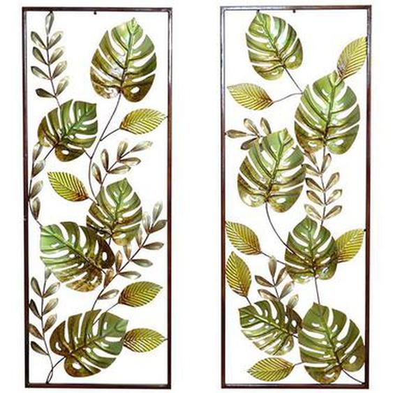 Wandbild mit Blatt Motiv Grün Braun Metall (2er Set)