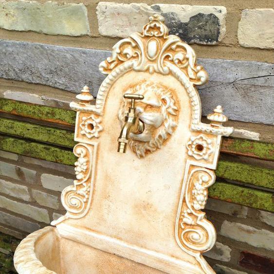 Wandbrunnen mediterran Löwe, Wasserbecken Italienisch, Gartenbrunnen Zapfstelle