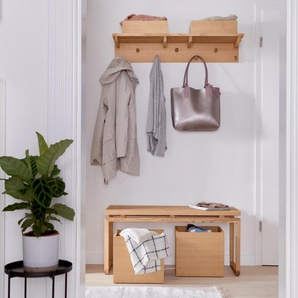 Wandgarderobe mit Boxen - naturfarben - Massivholz -