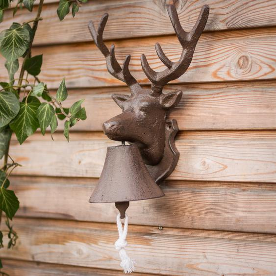 Wandglocke mit Hirsch, Glocke fürs Gartenhaus, Türglöckchen mit Rotwildmotiv