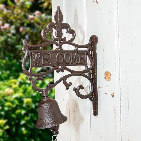 Wandglocke mit Welcome, Gartentor Dekoration, Glocke fürs Gartenhaus Türglocke