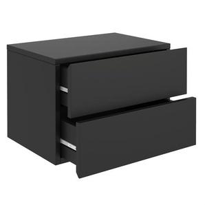 Wandregal Nachtschrank ANNI mit 2 Schubladen in schwarz
