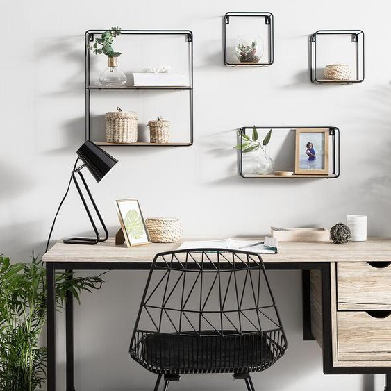 Wandregal Set schwarz / heller Holzfarbton BRITO