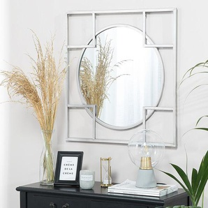 Wandspiegel silber Kreis im Quadrat 71 x 71 cm APOLIMA