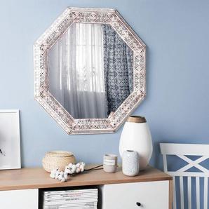 Wandspiegel weiß/kupfer achteckig 84 x 84 cm SATARA
