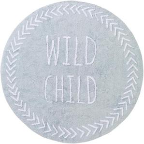Waschbarer Kinderteppich Inka Hellblau ø 150 cm rund