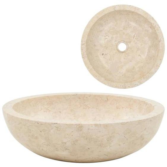 Waschbecken 40 x 12 cm Marmor Creme