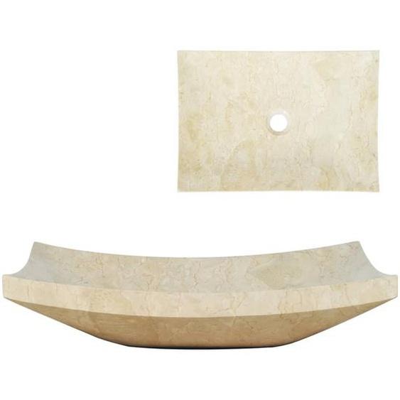 Waschbecken 50 x 35 x 12 cm Marmor Cremefarben