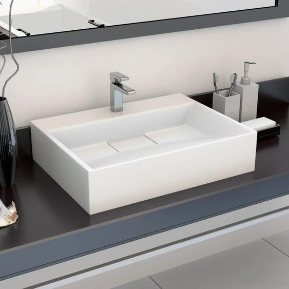 Waschbecken 50 x 38 x 13 cm Mineralguss/Marmorguss Weiß