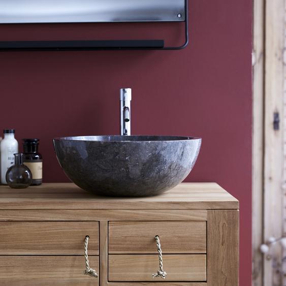 Waschbecken Aufsatzwaschbecken aus Marmor grau poliert rund