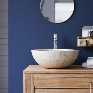 Waschbecken Aufsatzwaschbecken aus Marmor hell creme poliert rund
