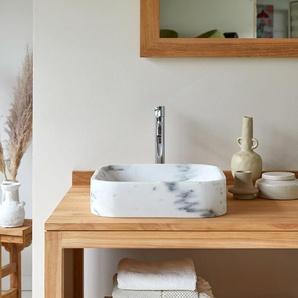 Waschbecken Aufsatzwaschbecken aus Marmor vierecking mit abgerundeten Ecken