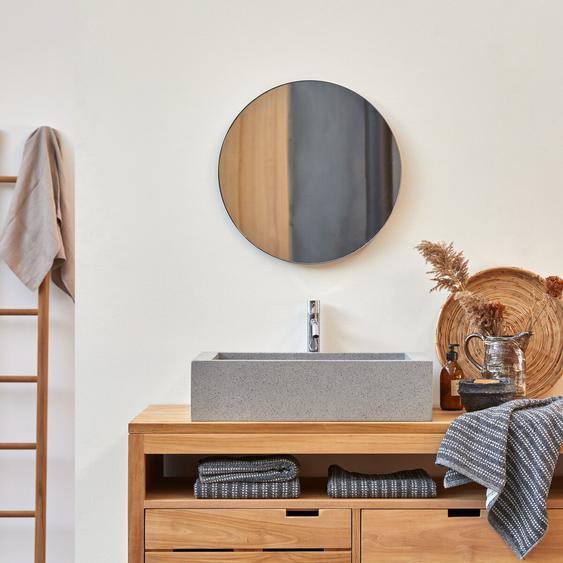 Waschbecken Aufsatzwaschbecken eckig grau aus Terrazzo 60cm