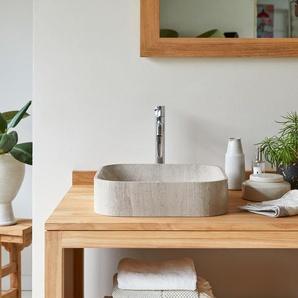 Waschbecken grau aus Marmor vierecking mit abgerundeten Ecken