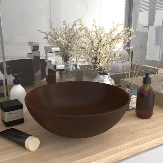 Waschbecken Keramik Dunkelbraun Rund
