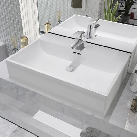 Waschbecken mit Hahnloch Keramik Weiß 60,5 x 42,5 x 14,5 cm