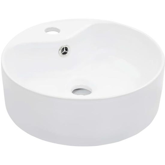 Waschbecken mit Überlauf 36 x 13 cm Keramik Weiß