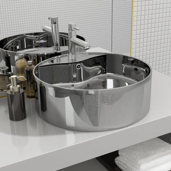 Waschbecken mit Überlauf 46,5 x 15,5 cm Keramik Silbern