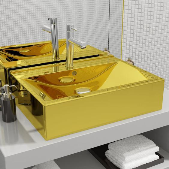 Waschbecken mit Überlauf 60 x 46 x 16 cm Keramik Golden