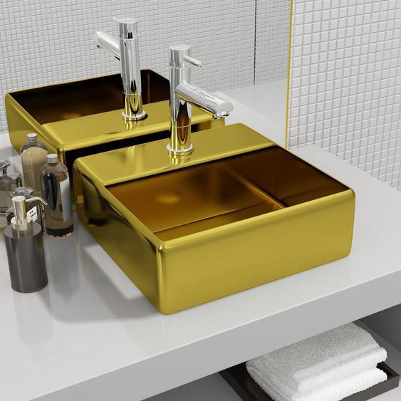 Waschbecken mit Wasserhahnloch 38 x 30 x 11,5 cm Keramik Golden