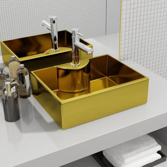 Waschbecken mit Wasserhahnloch 48 x 37 x 13,5 cm Keramik Golden
