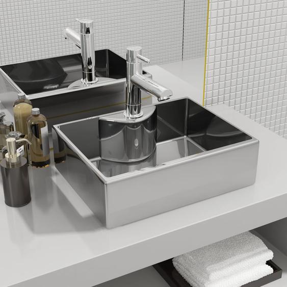 Waschbecken mit Wasserhahnloch 48x37x13,5cm Keramik Silbern