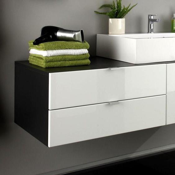Waschbecken Unterschrank Bad Schrank Weiß Hochglanz Grau Waschtisch