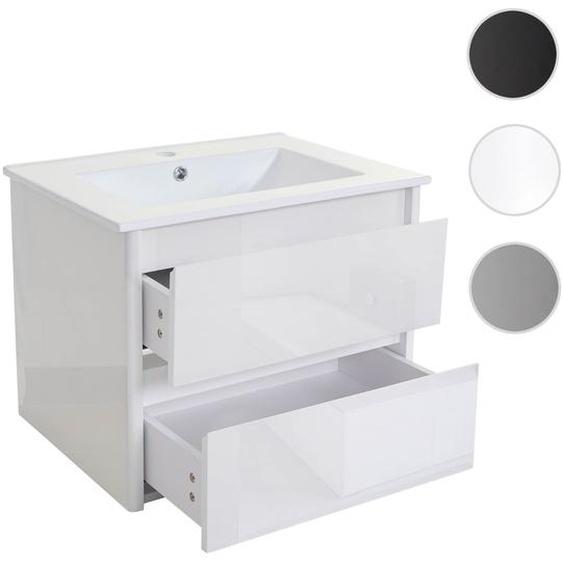 Waschbecken + Unterschrank HWC-B19, Waschbecken Waschtisch Badezimmer, hochglanz 50x60cm ~ wei�