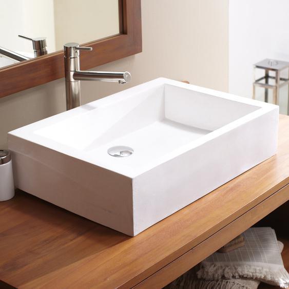 Waschbecken weiß rechteckig Terrazzo für Waschtisch Badezimmer neu unbehandelt