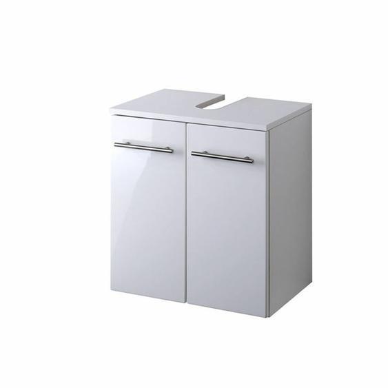 Waschbeckenschrank Hochglanz Weiß 50cm Badezimmermöbel Unterschrank