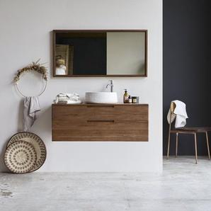 Waschbeckenunterschrank aus Teak 115 cm Waschtisch mit Wandanbringung Baker