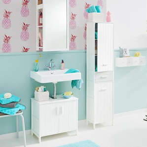 Waschbeckenunterschrank mit 2 großen Türen - Weiß - Massivholz -