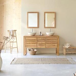 Waschbeckenunterschrank Waschtisch aus Teak Naturton Lattenoptik 145 cm