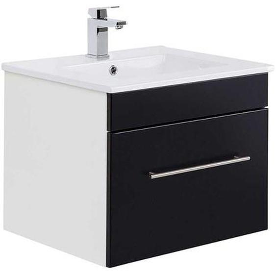 Waschkommode in Weiß und Anthrazit einer Schublade