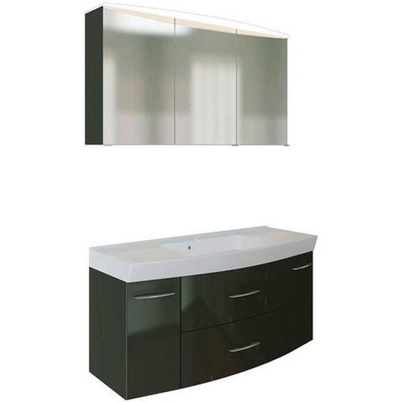 Waschplatz in Dunkelgrau Hochglanz 3D Spiegelschrank (2-teilig)