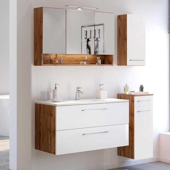 Waschplatz Kombination in Weiß und Wildeiche Optik LED Beleuchtung (4-teilig)