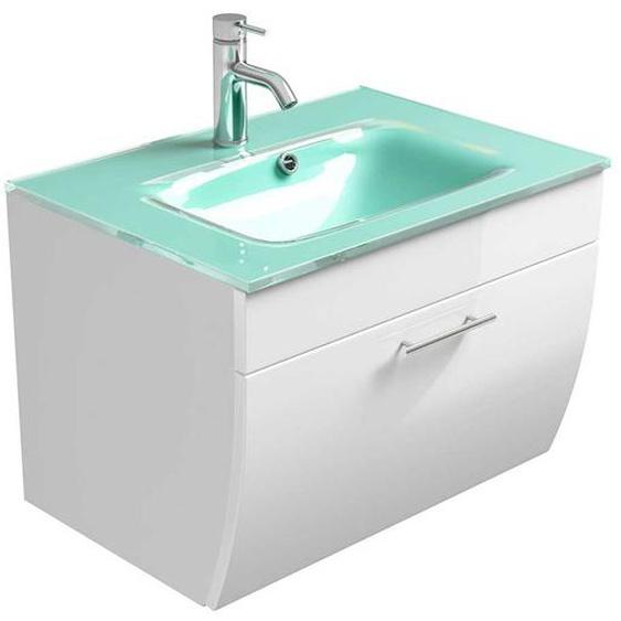 Waschplatz mit Glasbecken Weiß Hochglanz