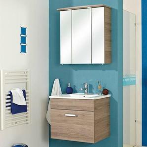 Waschplatz mit Spiegelschrank & LED - OSTENDE-66 in Sanremo Eiche - B/H/T: 65/200/45cm
