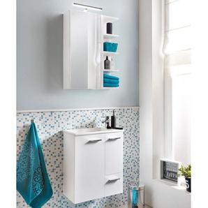 Lomadox - Waschplatz-Set Badezimmermöbel Set weiß inkl. Keramik Waschbecken MARCEY-04