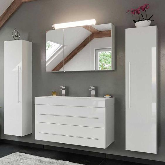Waschplatz Set in Hochglanz Weiß Doppel Waschtisch (4-teilig)